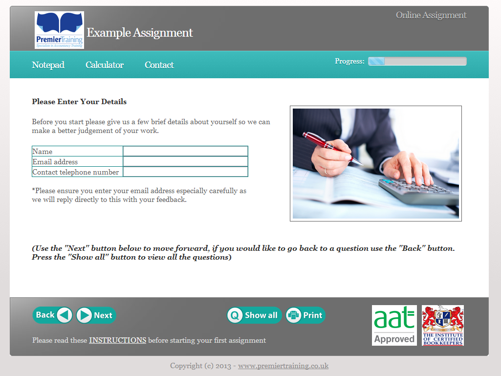 Online AAT assignments