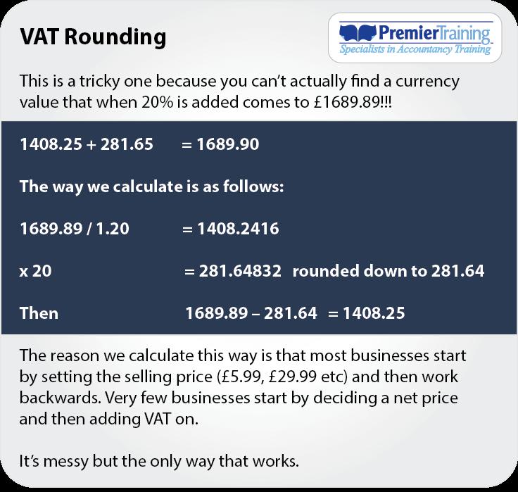 Study Tip: VAT Rounding help note